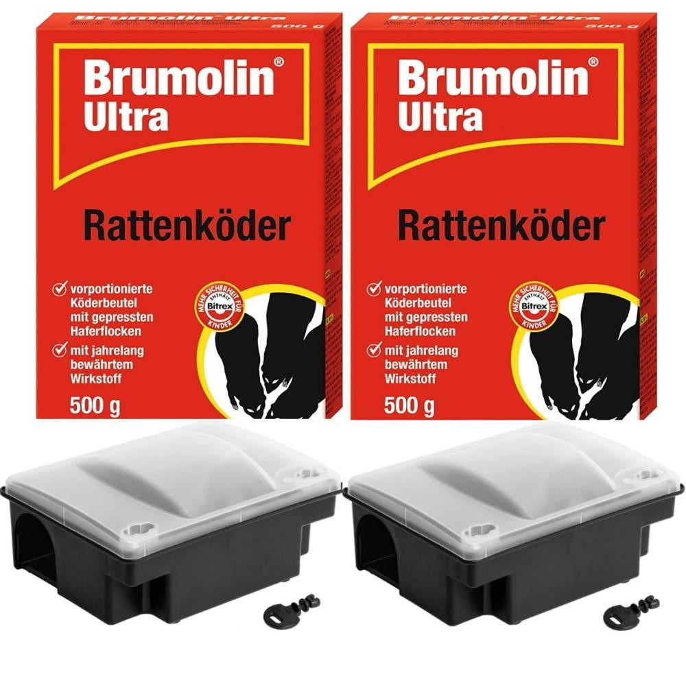 Brumolin Ultra Rattenköder 2x500 gr + 2 Rattenköderboxen