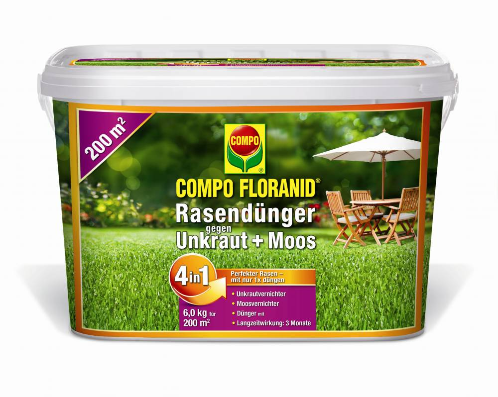 COMPO-Floranid Rasendünger gegen Unkraut + Moos 4in1 (Grösse: 6 KG Eimer)
