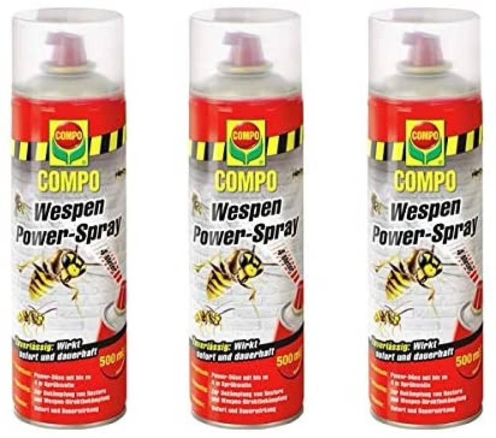 Compo Wespen-Power Spray 3x500 ml - mit Power-Düse- Sofort und Langzeitwirkung