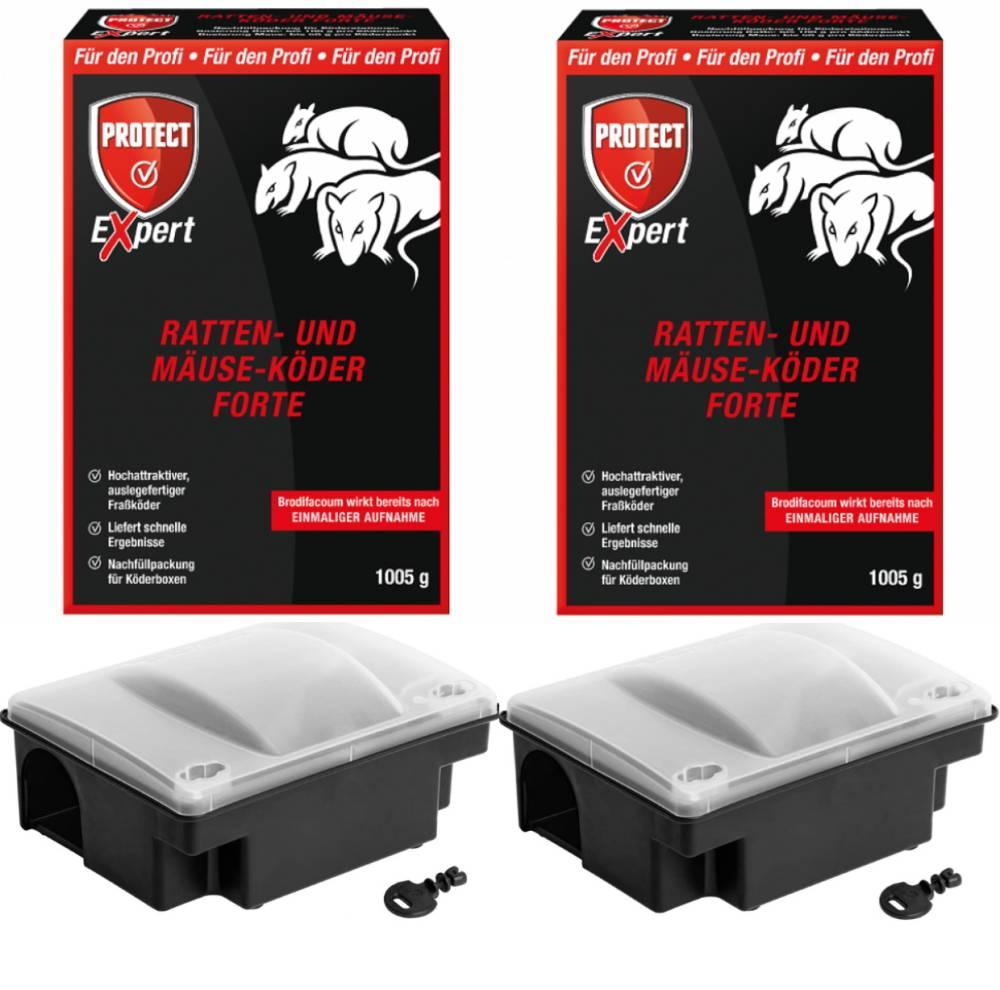 Rattenköder PROFI SET: Ratten- und Mäuseköder Forte BRODITEC P-29F 2x1005 gr- und 2 Rattenköderboxen