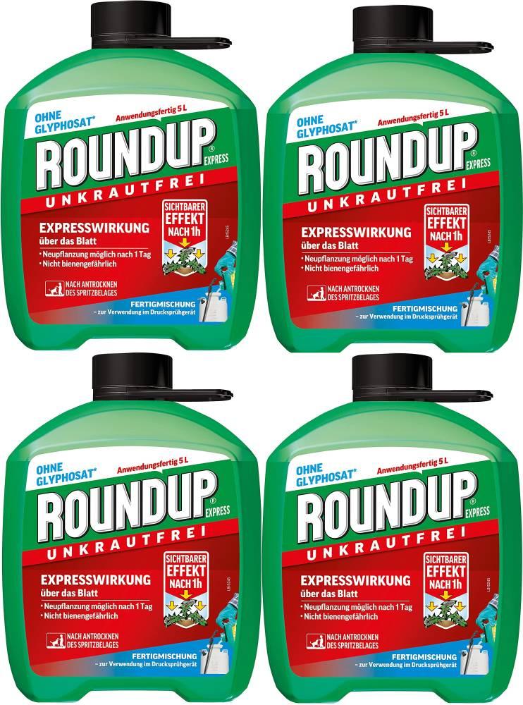 Roundup Express Unkrautfrei- Fertigmischung zur Bekämpfung von Unkräutern+Gräsern 4x5 Liter