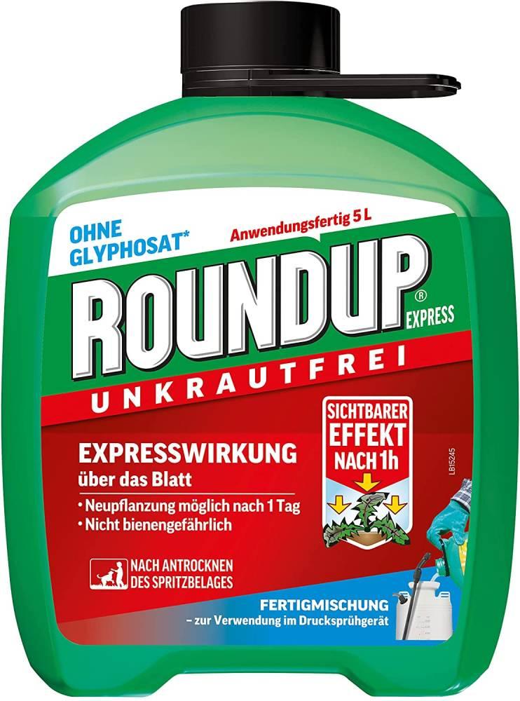 Roundup Express Unkrautfrei- Fertigmischung zur Bekämpfung von Unkräutern und Gräsern 5 Liter Kanister