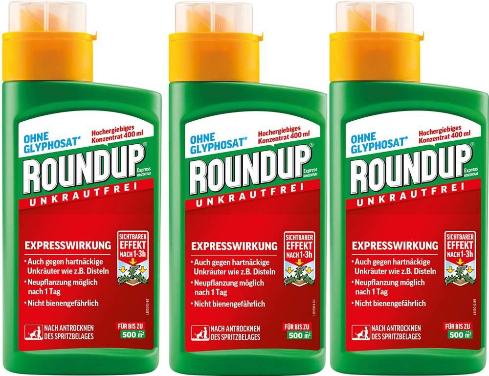 Roundup Unkrautfrei Express Konzentrat 3x400 ml für 1500 m- Fläche