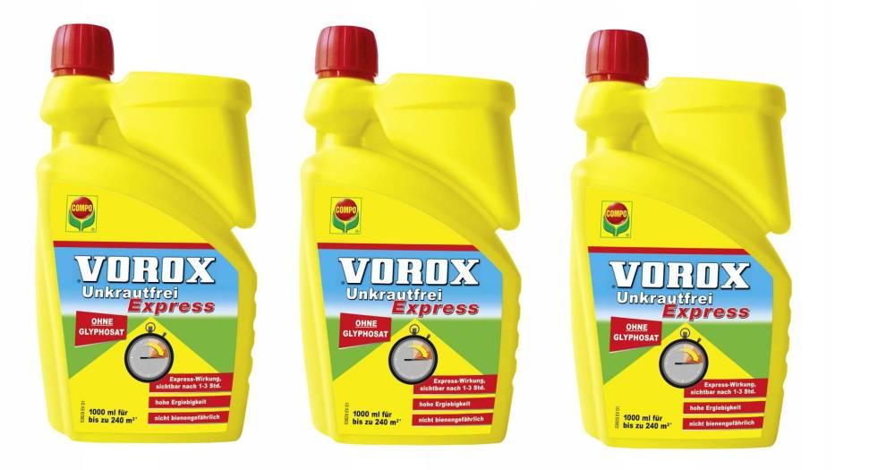 VOROX Express Unkrautfrei 3x1 Liter Konzentrat Vorteilspack